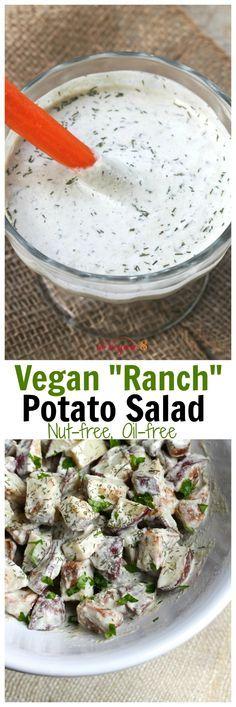 Vegan Ranch Potato Salad (Nut-free, oil-free, soy-free) – More at http://www.GlobeTransformer.org