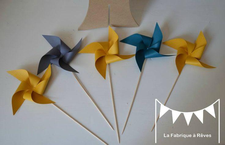 moulins � vent gris bleu canard jaune d�coration naissance baby shower bapt�me mariage anniversaire