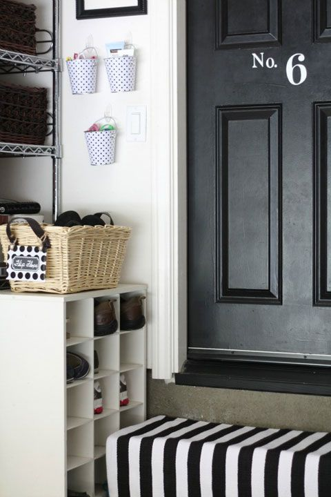 why have i never thought of this?  Black door for inside the garage!  Love it!!  Organization inside the garage - shoes, wall storage for sun glasses, etc.