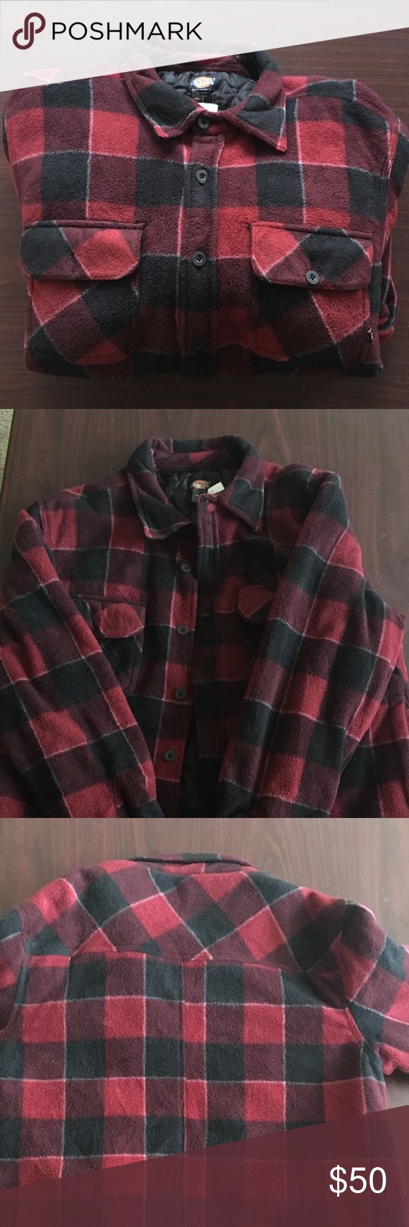 Red plaid dickies coat A red and plaid dickies coat.  Super worn. Gently worn.  Supreme condition.  No stains no damages no holes.  Very warm  Willing to negotiate offer Dickies Jackets & Coats Pea Coats