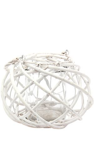 """Hanging glass and bamboo hurricane candle holder. Available in small and large.<div class=""""pdpDescContent""""><BR /><b class=""""pdpDesc"""">Dimensions:</b><BR />L37xW37xH22.5 cm</div>"""