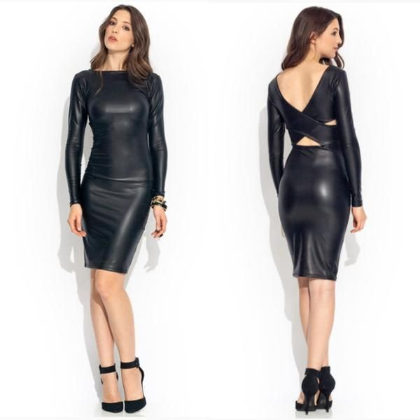 Her Edgy Sexy Bandage Style Reversible Faux Leather Fashion Midi Dress