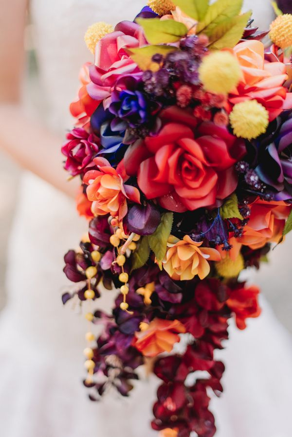 Colorful Paper Flower Bouquet|A Woodsy Summer Wedding inspired by Colors of the Sunset & Night Sky|Photographer: James Tang Photography