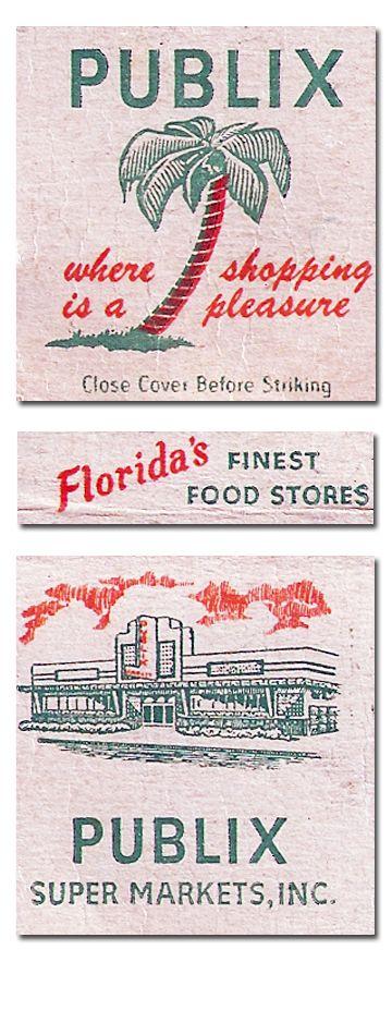 Publix supermarket vintage matchbook