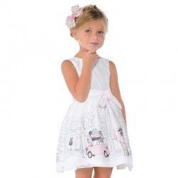 Vestido casual en blanco  con dibujo de chicas de compras