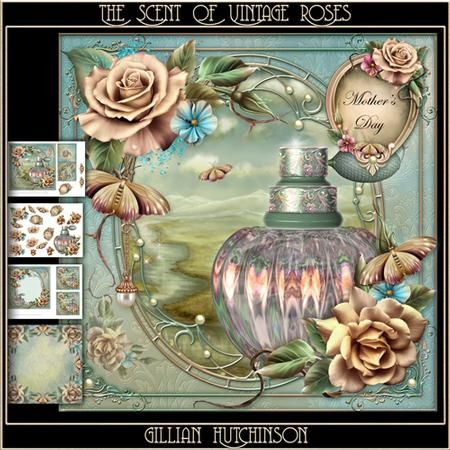 The Scent of Vintage Roses on Craftsuprint designed by Gillian Hutchinson…
