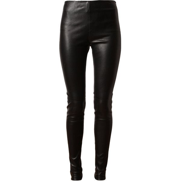 BALENCIAGA Stretch Leather Trousers ($1,460) ❤ liked on Polyvore featuring pants, bottoms, jeans, leggings, calças, stretch pants, high rise leather pants, slim leg pants, high waisted pants and stretch trousers