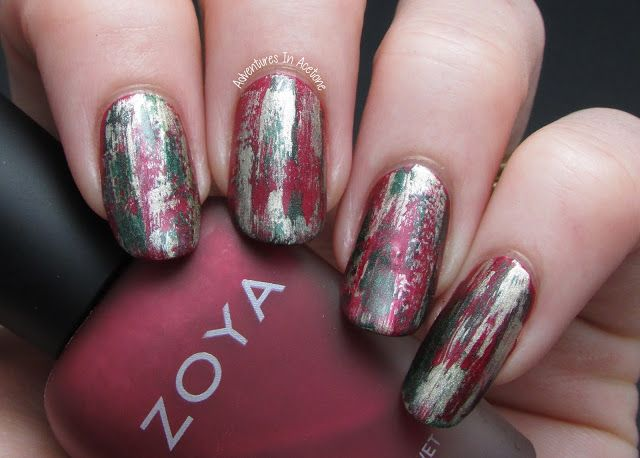 The Digit-al Dozen DOES Red, Gold And Green. Day 3: Christmas Grunge Nail Art!