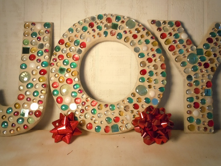 JOY - Large Mosaic Letters In Array of Christmas Colors OOAK. $99.95, via Etsy.
