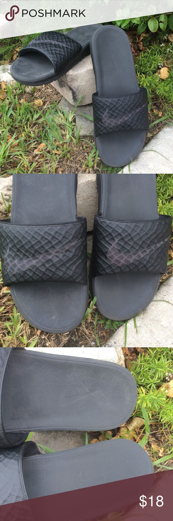 Nike Black Gray Sandals Slides Flip Flops Flats Slide on Men's Nike Sandals. Gray Nike Swoosh on top. Cushioned insole. Padded slide top. Men's size 11.5. Nike Shoes