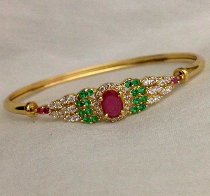 CZ and ruby emerald stone kada Code : BAK 376 Price : 700/- Whatsapp to 09581193795/- for order processing....
