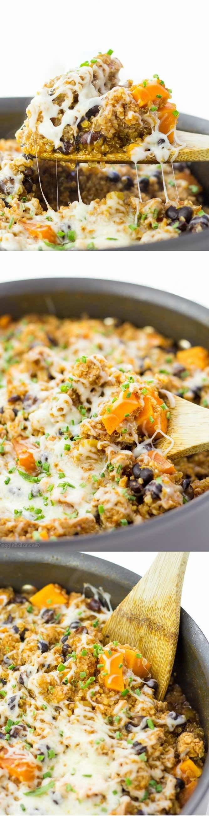One Pan Quinoa Enchilada for those quick weeknight dinner meals to the rescue. Toss it all in one pan and dinner is served in under 30 minutes. Mexican flavors, a meal made in under 30 minutes AND only one dish... Heaven. (Gluten Free, Dairy Free)