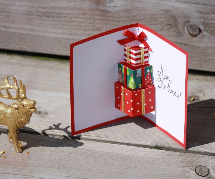 Weihnachtskarten basteln mit 3D-Geschenken in der Innenseite