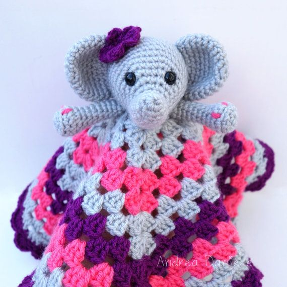 Crochet Elephant Lovey/ Security Blanket: Gray by AndreaDanielle