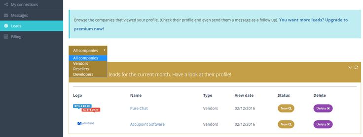 Our Leads dashboard with info from #SaaS #software #cloud companies that viewed your profile