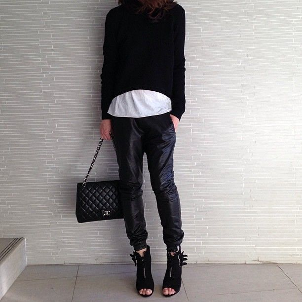 Back to black #leather #Chanel @Jeanie Walker-Scanlan Theodore @Tony Gebely Bianco ankle boots from www.shop.theyallhateus.com
