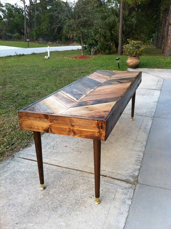DIY Chevron Pallet Coffee Table | 101 Pallets