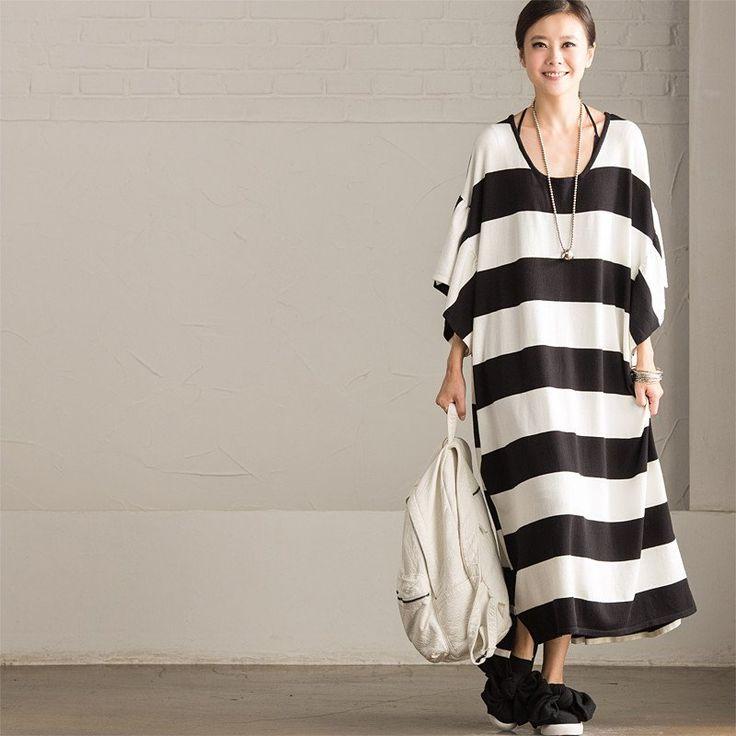 Korean Style Loose Knitting Stripe Bat Sleeve Casual Women Clothes Q8809A