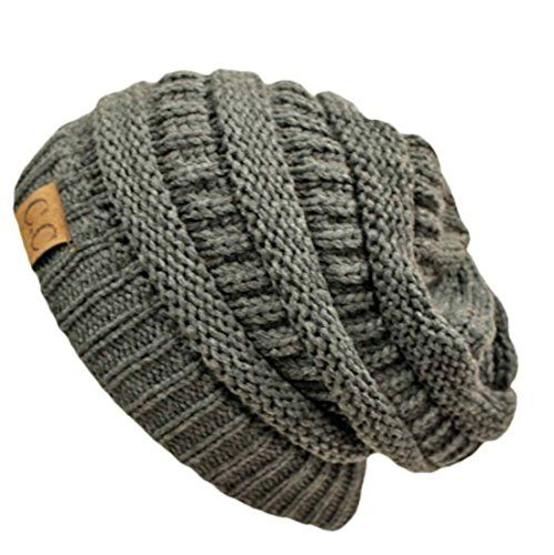 Charcoal Thick Slouchy Knit Oversized Unisex Beanie Cap Hat