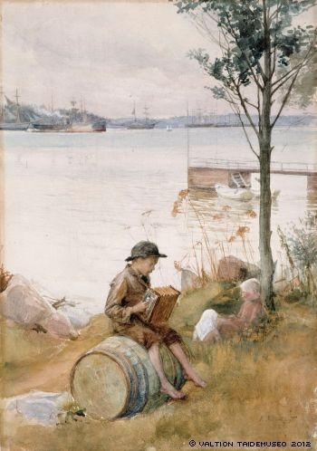 Albert Edelfelt - Serenadi rantapenkereellä, 1887