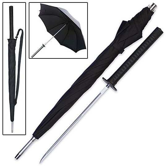 """This classic businessman's umbrella looks and works like a regular umbrella. But, this self-defense tool hides a secret weapon. Just unscrew the handle and a 14"""" stainless steel blade is unveiled to deter would-be attackers. Never leave home without this trusty late night protector. 38"""" overall."""