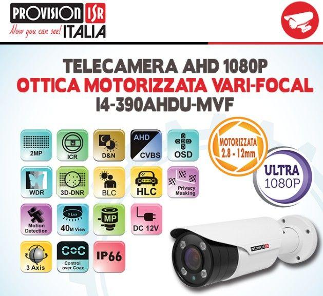 Tra le pagine del nuovo catalogo Provision-Isr ecco la Telecamera AHD 1080P con Ottica Motorizzata Vari-Focal mod. I4-390AHDU-MVF #sciurezza #videosorveglianza #icenextbo