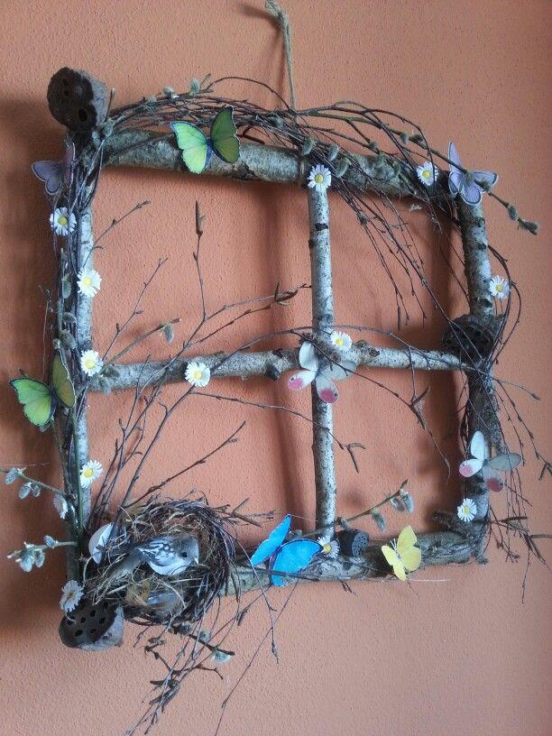 Diy Spring window w bird nest
