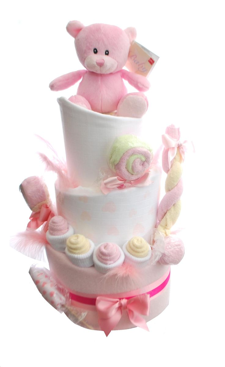 A very sweet nappy cake - literally. Covered in washcloth sweet creations. Perfect for a baby shower or new mum gift. Excellent choice for a baby girl or chose another colour and keep the same theme for a baby boy or unisex baby gift. This is a 3 tier nappy cake but is also available as a 2 tier nappy cake.