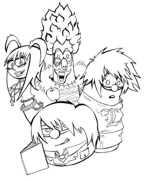 veggie tales meets death note coloring page haha