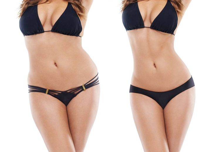 Studio before and after exercise shot of a young woman in a bikini