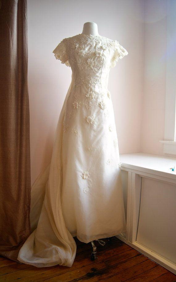 60s Wedding Dress / Vintage 1960s Cap Sleeve Silk by xtabayvintage, $998.00
