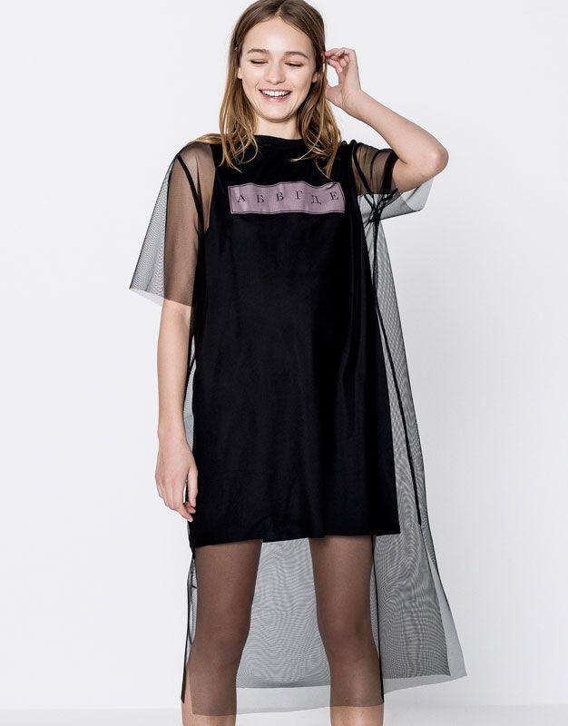 Pull&Bear - kadın - giyim - elbi̇seler - yazı baskılı t-shirt detaylı tül elbise - siyah - 05394331-V2017