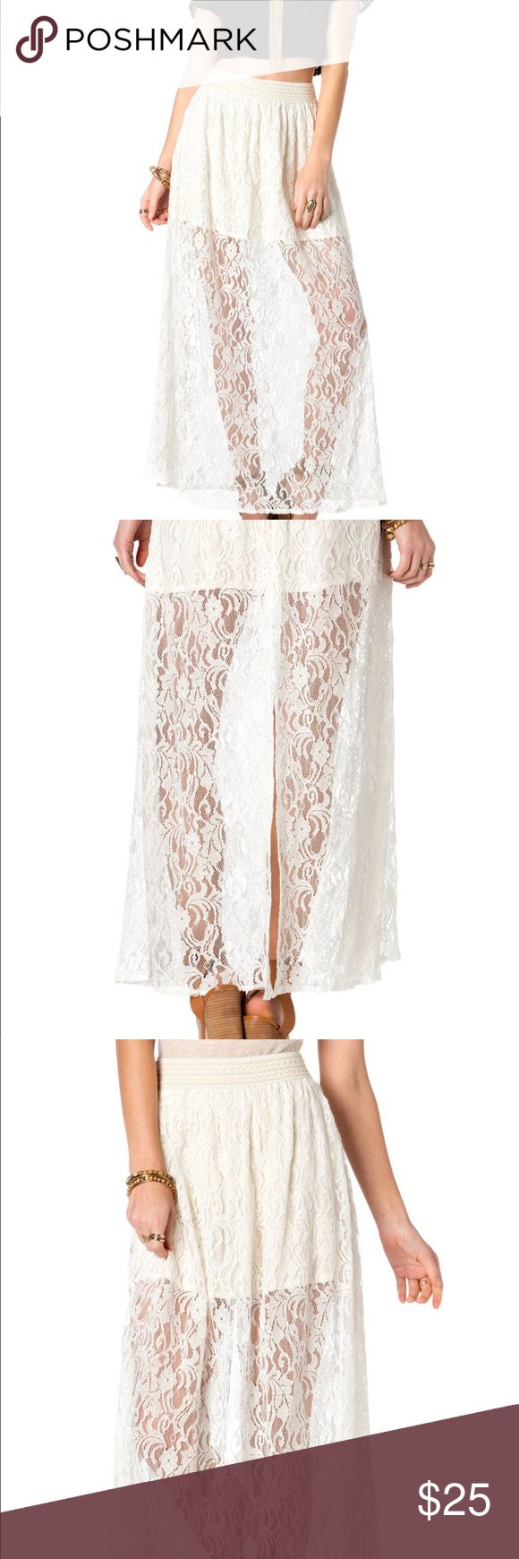 Miss Me Sheer Addiction lace maxi skirt Off white lace adds edgy dimension to a flirty maxi skirt detailed with tonal mini skirt, dramatic slit at back, and wide elastic waist band. 60% Cotton; 40% Nylon Gentle Machine Wash Cold Miss Me Skirts Maxi
