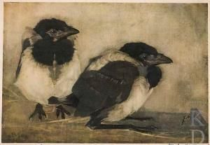 Jan Mankes , Twee jonge eksters, 1909