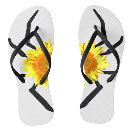 Yellow Sunflower Black Spider Legs Flip Flops - black gifts unique cool diy customize personalize
