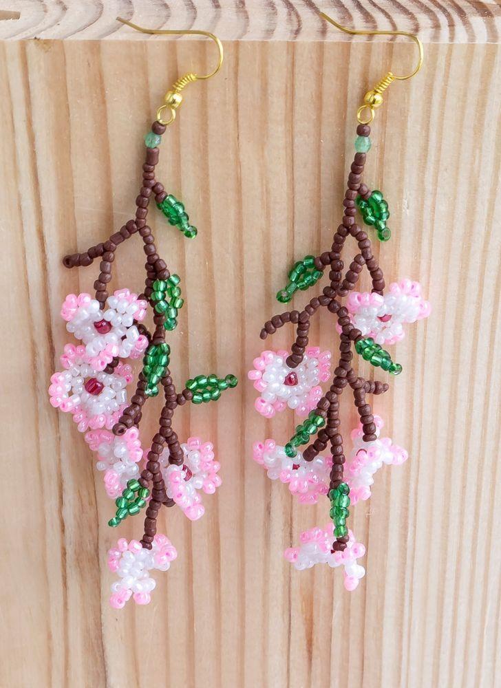 """Delicate seeds beaded Earrings Sakura flowers Cherry blossom 4,3"""" handmade #MarinaIlnytska"""