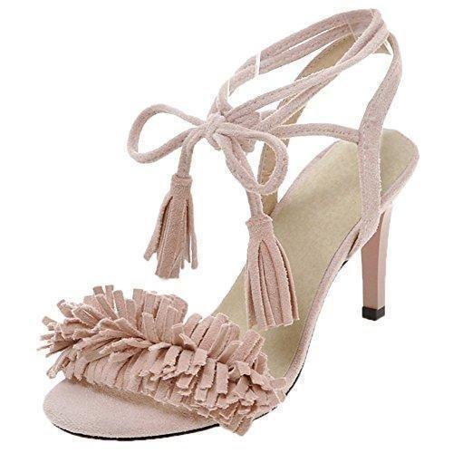 Oferta: 67.99€ Dto: -47%. Comprar Ofertas de HooH Mujer Gamuza Peep Toe Lace up Zapatos de tacón talón abierto Flecos Sandalias Suela Roja Rosa 39 EU barato. ¡Mira las ofertas!