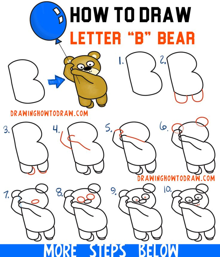 how to draw a cartoon bear holding a balloon floating up easy from letter b easy - Cartoon Kids Drawing