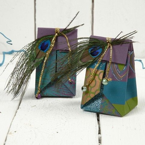 12666 A Small Folded Gift Bag made from Handmade Paper