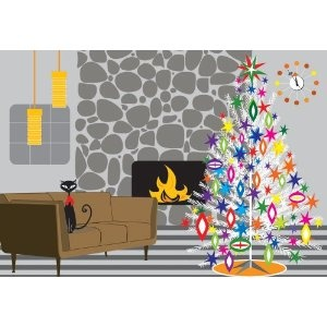 Retro Christmas Home: My last home looked a bit like that (stone fireplace, black cats, except my sofa was orange, 'tuurlijk).