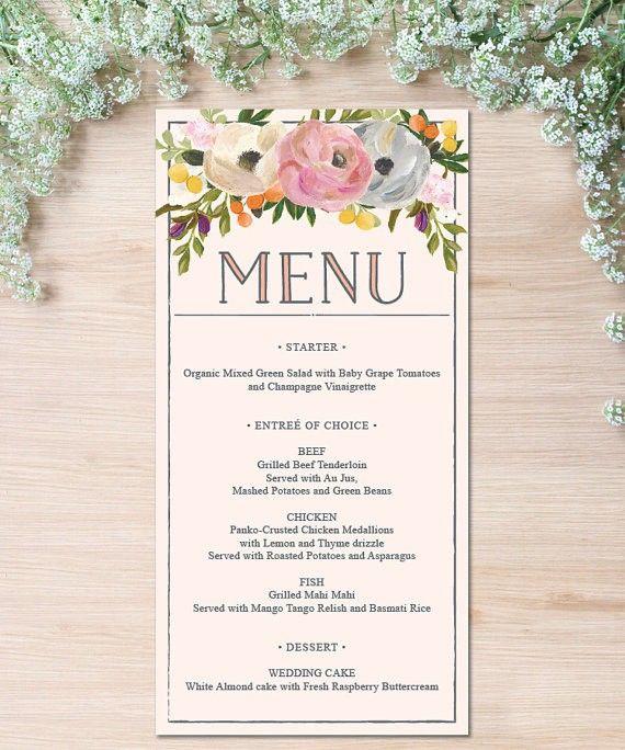 【Sweet Blooms】ゲストが何名でもこの値段♥︎自分で作る海外風ウェディングメニュー表キット│結婚式 席次表