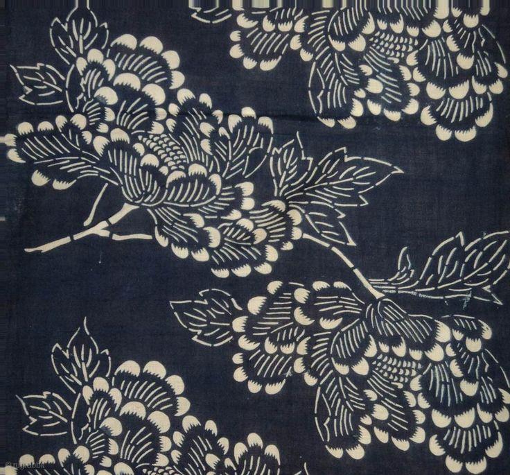 Japanese Indigo Katazome textile
