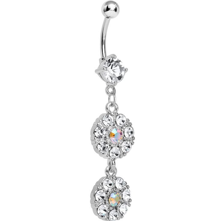 Clear Gem Dazzling Double Drop Dangle Belly Ring
