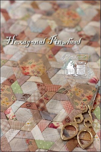 Hexagonal Pinwheel My Original つながってきました。 まだまだです! あと半分強 残っています。。。( ̄◇ ̄;)