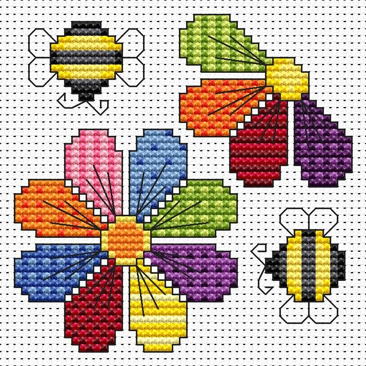 Patchwork Flowers cross stitch card kit by Fat Cat Cross Stitch.  Design 8.5cm x 8.5cm 14 count white Aida The kit contains fabric, strandedAnchor embroidery threads, needle, easy to follow instructions andchart, card and envelope.  A brand new kit will be sent directly to you by Fat Cat Cross Stitch - usually within 2-4 working days © Fat Cat Cross Stitch