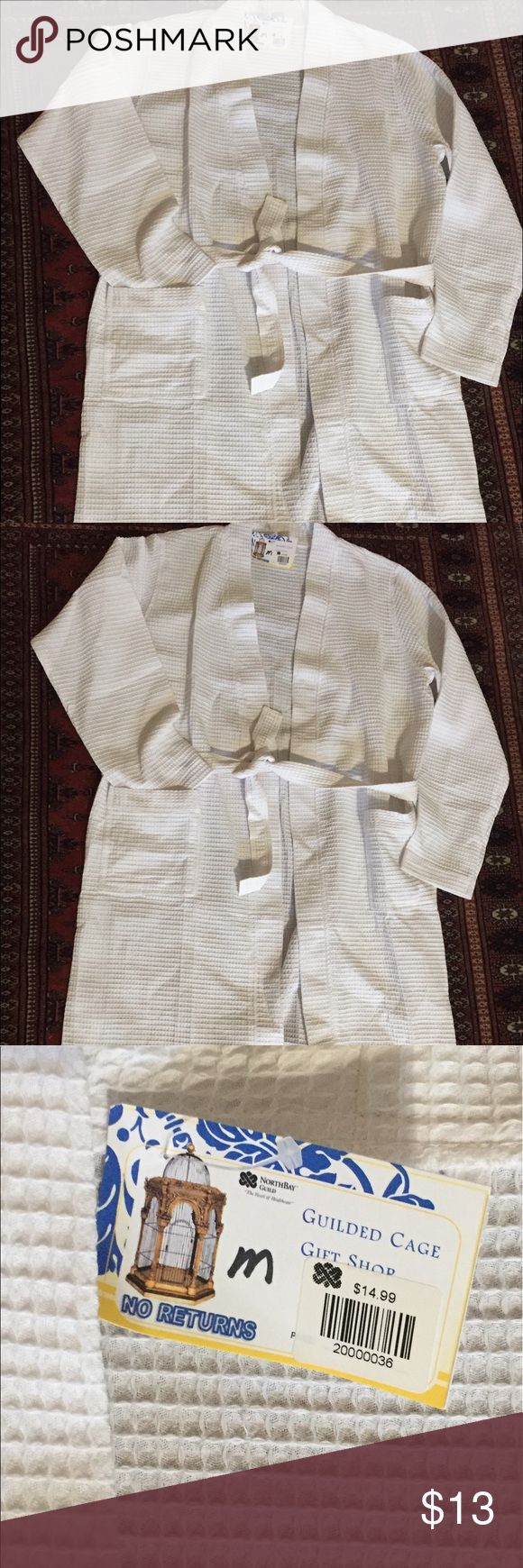 100% Cotton Waffle Robe Sz M 100% Cotton Waffle White Robe - Size Med. with tags.  No stains or rips .  Nonsmoking and pet free household. Gilded Cage Other