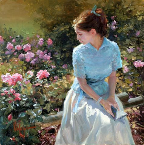 Vladimir Volegov - A very pretty painting. It seems as though she has just finished a piece of her book and is thinking hard about it.