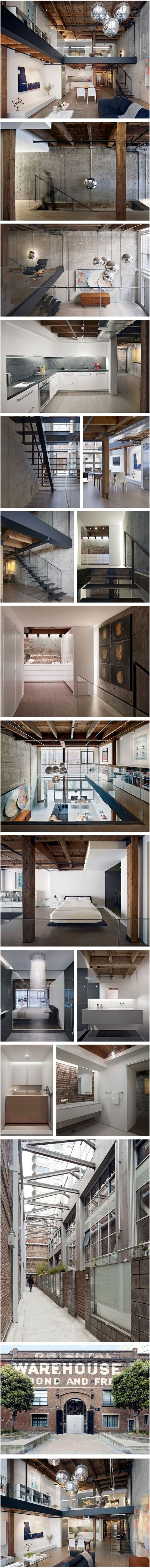Interior design and architecture for a loft unit in San Francisco's Oriental Warehouse Building by EDMONDS + LEE ARCHITECTS. http://www.edmondslee.com/owl.html: