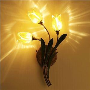 (EU Lager)Florentiner Wandleuchte Led Glas Tulpen Design 3-flammig