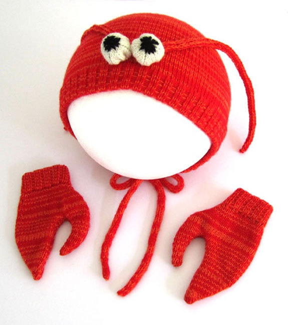 Lobster Hat & Mittens Set for Babies: Babies, Lobsters Hats, Knits Lobsters, Baby Lobsters, Mittens Sets, Knits Baby Hats, Kids, Baby Accessories, Lobsters Baby